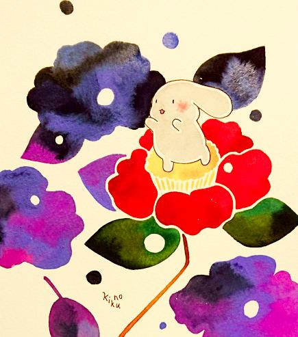 寒椿に雪の花